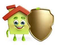 House character with shield Stock Image