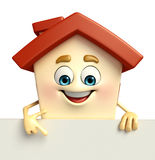 House character with  sign Royalty Free Stock Image