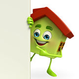 House character with sign Royalty Free Stock Photo