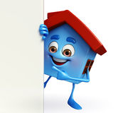 House character with  sign Stock Photo