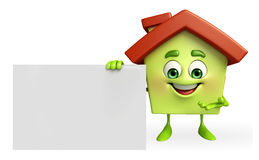 House character with sign Royalty Free Stock Photos