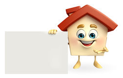 House character with  sign Stock Photos