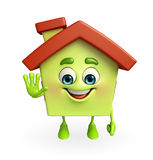 House character with stop sign Stock Photos