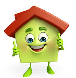 House character with thumbs up sign Stock Image