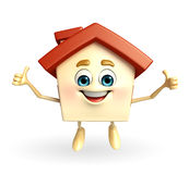 House character with thumbs up sign Royalty Free Stock Images