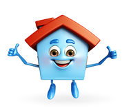 House character with thumbs up sign Stock Photography