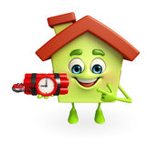 House character with time bomb Royalty Free Stock Photography