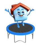House character with trampolines Stock Photography