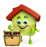 House character with treasure box Royalty Free Stock Photos