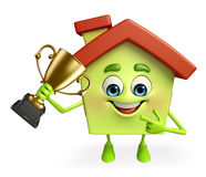 House character with trophy Royalty Free Stock Photography
