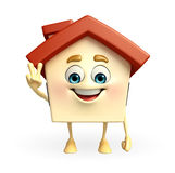 House character with victory sign Royalty Free Stock Photo