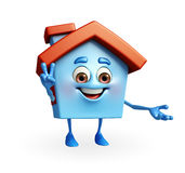 House character with victory sign Royalty Free Stock Photos