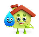 House character with water drop Royalty Free Stock Image