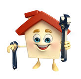 House character with wrench Royalty Free Stock Images
