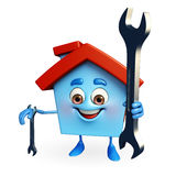 House character with wrench Royalty Free Stock Photo