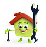 House character with wrench Royalty Free Stock Image