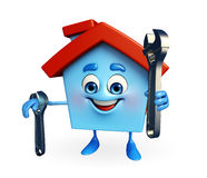 House character with wrench Stock Photo