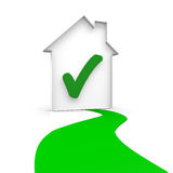 House. With a checkmark and a green way Stock Image