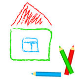 House - child drawing imitation, in vector.  Royalty Free Stock Photography