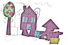 House-child illustration. Abstracts backgrounds Stock Photo
