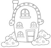 House with a chimney coloring page Royalty Free Stock Photos