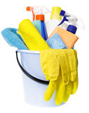 House chores bucket with cleaning supplies isolated Stock Image