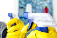 House chores - cleaning bathroom   with sprayer Royalty Free Stock Photo