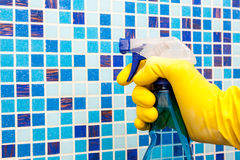 House chores - cleaning bathroom wall with sprayer Royalty Free Stock Photos