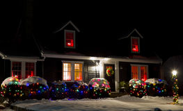 House at Christmas. Decorated house at Christmas and New Year Stock Photo