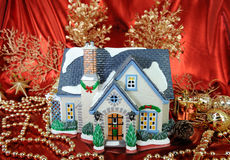 House of christmas card. With Decorations Stock Photo