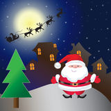 House on christmas day. On night Royalty Free Stock Images