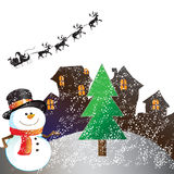 House on christmas day. On white background Royalty Free Stock Photo