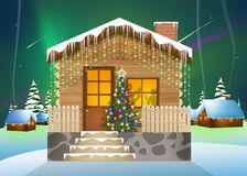 House with Christmas decorations. Illustration of house with Christmas decorations stock illustration