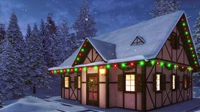 House with Christmas decorations at snowfall night stock illustration