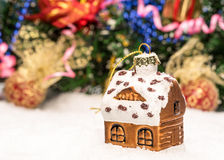 House with christmas decorations on a white Royalty Free Stock Photo