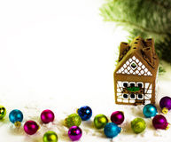 House with Christmas decorations Stock Photo