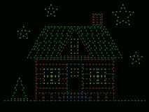 House of Christmas lights Royalty Free Stock Image