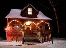 House With Christmas Lights. At Christmastime Royalty Free Stock Images
