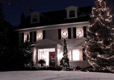 House with Christmas lights Stock Image