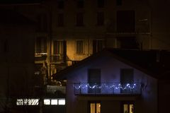 House with christmas lights. Composition stock photo