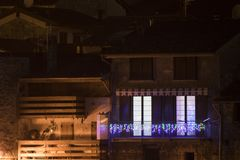 House with christmas lights. Composition royalty free stock images