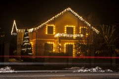 House with Christmas lights. House with beautiful Christmas lights Royalty Free Stock Photos