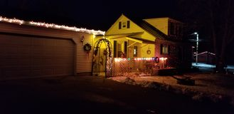 House Christmas lights royalty free stock photography