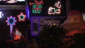 House Christmas outdoor decorations stock video footage