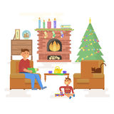 House Christmas room interior Stock Images