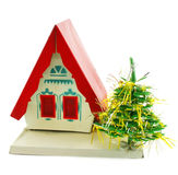House and Christmas tree. Isolated on a white background Royalty Free Stock Image
