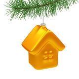 House Christmas Tree Toy. House toy hanging on the christmas tree isolated on white Royalty Free Stock Photos