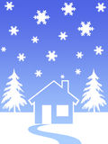House and christmas trees. Snow flakes house and christmas trees Vector Illustration