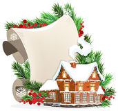 House and Christmas wreath Royalty Free Stock Photo