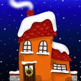 House with a Christmas wreath Royalty Free Stock Photography